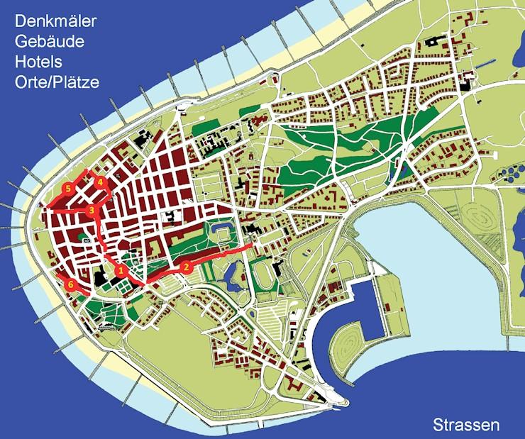 Norderney Karte Straßen.Insel Stadt Historisch Strassen